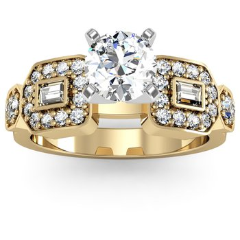 Round & Baguette Diamond Engagement Ring