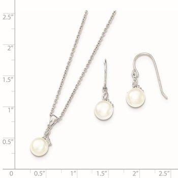 Sterling Silver Rhodium 7-8mm White FWC Pearl CZ Neck and Earring Set