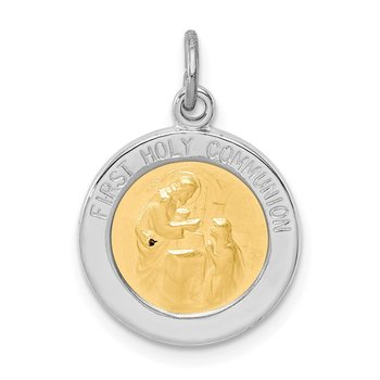 Sterling Silver Rhodium-plated & Vermeil Holy Communion Medal