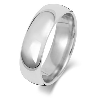18Ct White Gold 6mm Traditional Court Wedding Ring