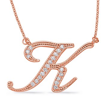Rose Gold Diamond Initial K Pendant