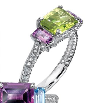 Sterling Silver, peridot and purple amethyst diamond ring