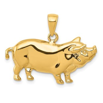 14k Pot Belly Pig Pendant