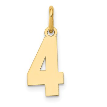 14k Small Polished Number 4 Charm