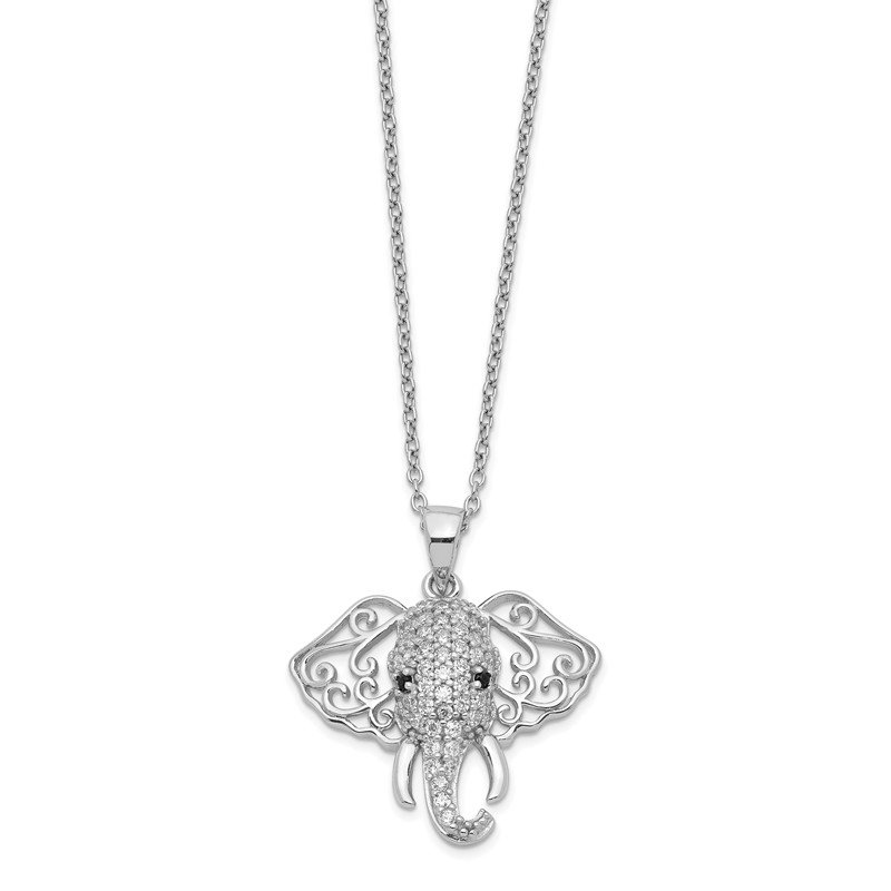 Cheryl M Cheryl M Sterling Silver Black and White CZ Elephant 18in Necklace