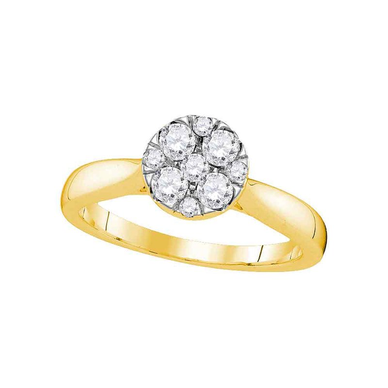 Kingdom Treasures 14kt Yellow Gold Womens Round Diamond Cluster Bridal Wedding Engagement Ring 1/2 Cttw