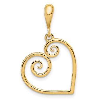 14K Polished Swirl Heart Pendant