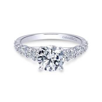 14k White Gold Diamond Graduating Pave with Straight Cathedral Setting Engagement Ring