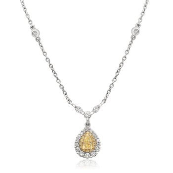 Pear-shaped Yellow Diamond Necklace