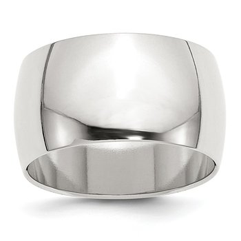 Sterling Silver 12mm Half Round Size 10 Band