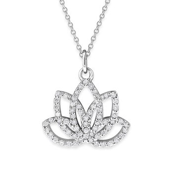 Diamond Lotus Flower in 14K White Gold with 65 Diamonds Weighing .35ct tw.