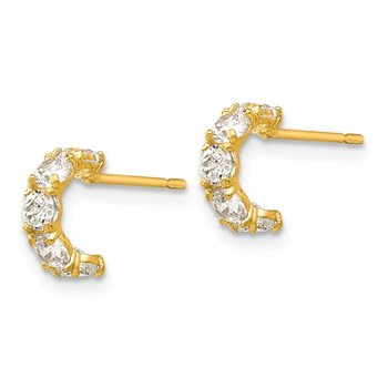 14k Madi K CZ Children's Five Stone Hinged Hoop Post Earrings