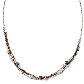 Leslie's Sterling Silver, Ruthenium & Rose Gold-plated D/C Necklace