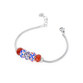 316L stainless steel, red agathe, coloured glass and coloured Swarovski® Elements crystals.