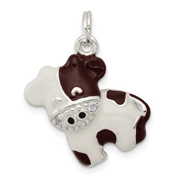 Sterling Silver CZ Brown & White Enameled Polished Cow Charm