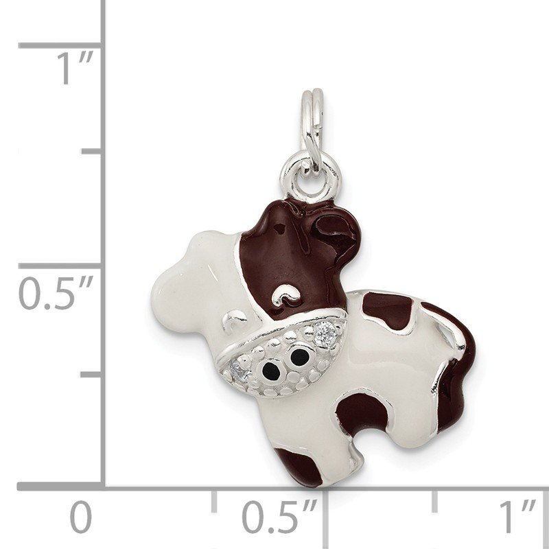 Quality Gold Sterling Silver CZ Brown & White Enameled Polished Cow Charm
