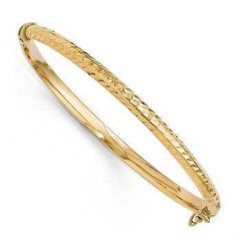 Leslie's 10K Polished D/C Hinged Bangle Bracelet
