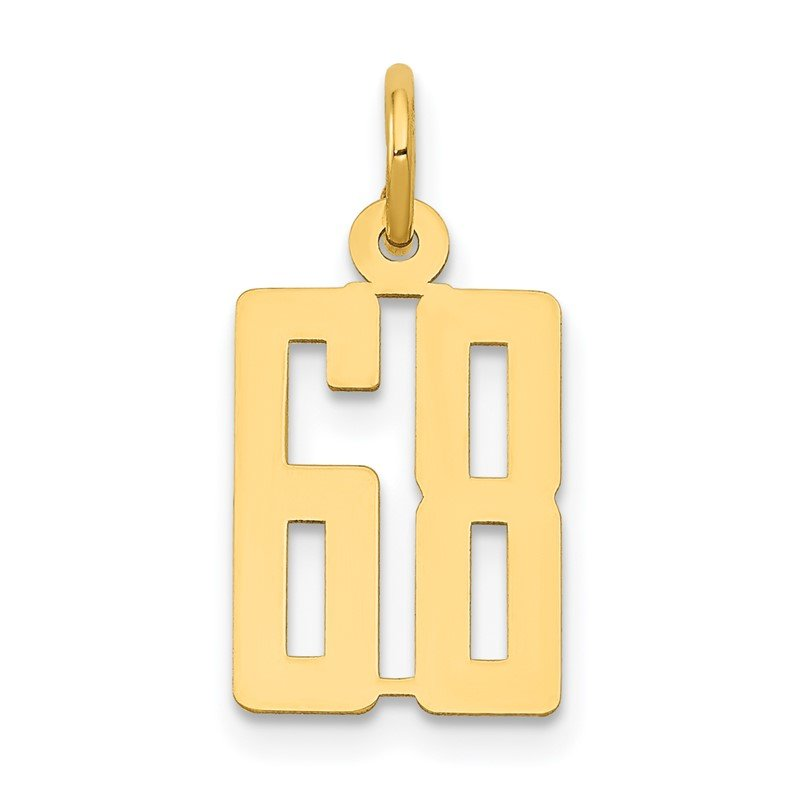 Quality Gold 14k Small Polished Elongated 68 Charm