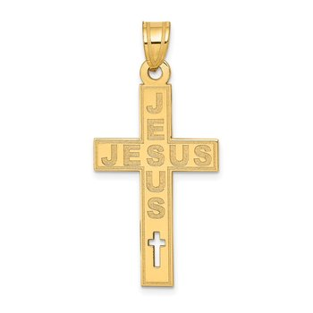 14K Laser Cut JESUS Cross Charm