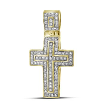10kt Yellow Gold Mens Round Diamond Christian Cross Layered Charm Pendant 1/4 Cttw