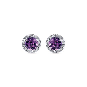 14K White Gold Round Amethyst & Diamond Halo Stud Earrings