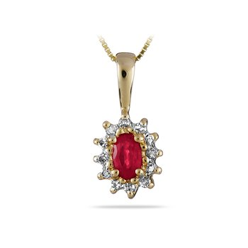 14K YG Ruby and Diamond All Purpose Pendant