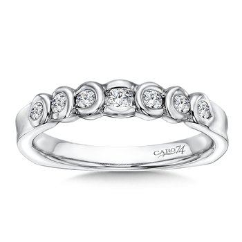 Semi-Bezel Diamond Wedding Band in 14K White Gold