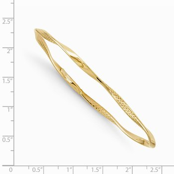 Leslie's 14K Polished and Textured Twisted Slip-on Bangle
