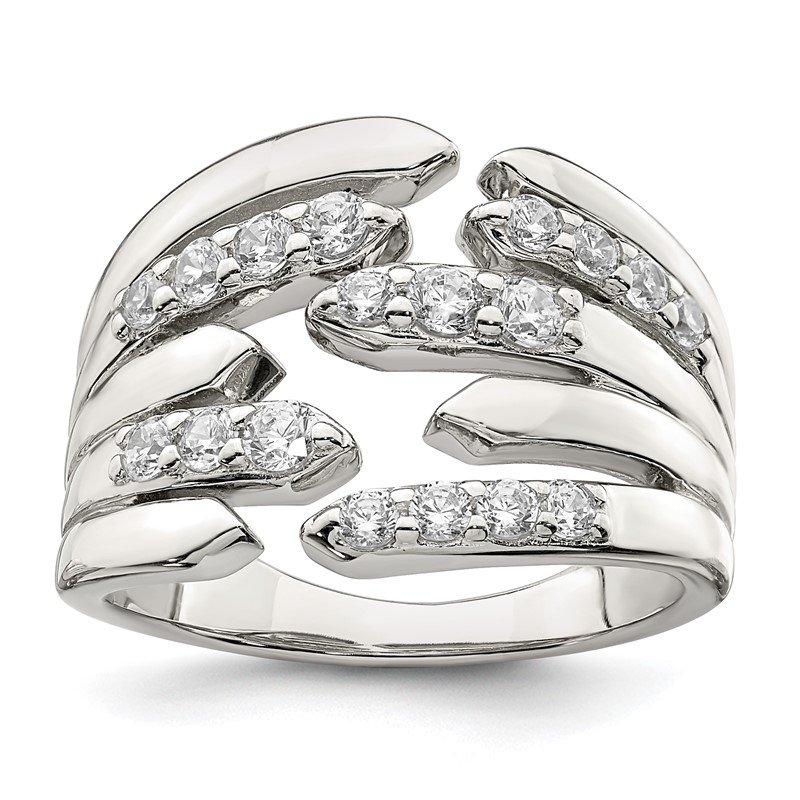 Fine Jewelry by JBD Sterling Silver CZ Fancy Band