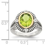 Quality Gold Sterling Silver w/14k Peridot Ring