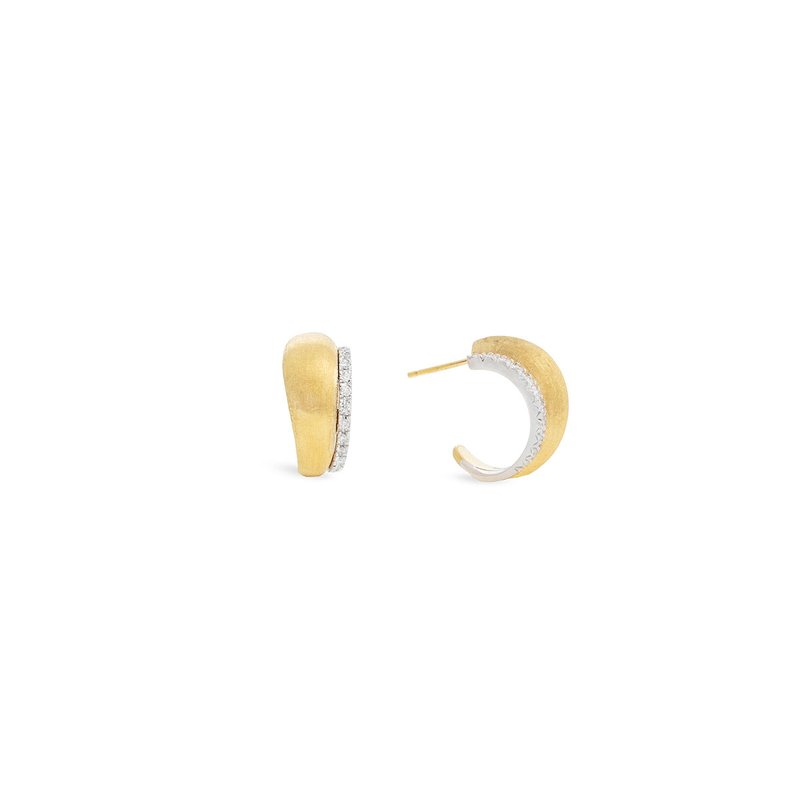 Marco Bicego Marco Bicego® Lucia Collection 18K Yellow Gold and Diamond Small Hoop Earrings