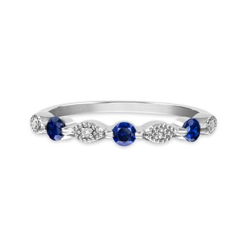 Sterling silver, synthetic sapphire & diamond fashion band