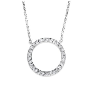 Diamond Circle Necklace in 14K White Gold with 29 Diamonds Weighing .57 ct tw