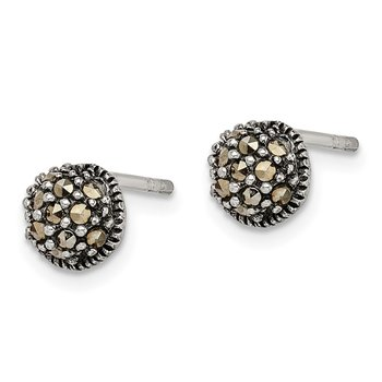 Sterling Silver Antiqued Marcasite 6mm Button Post Earrings