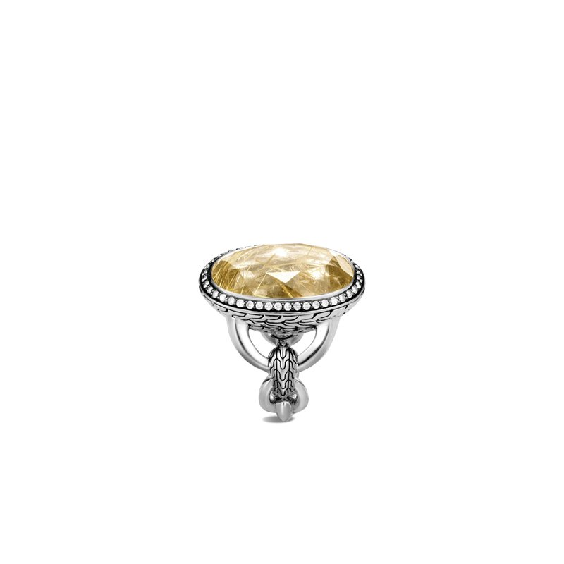 JOHN HARDY Classic Chain Knife Edge Ring, Silver, 13x22MM Gem, Diamonds