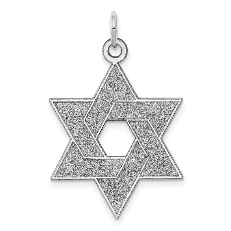 Quality Gold 14K White Gold Laser Designed Star of David Pendant