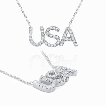 14k Gold and Diamond USA Necklace
