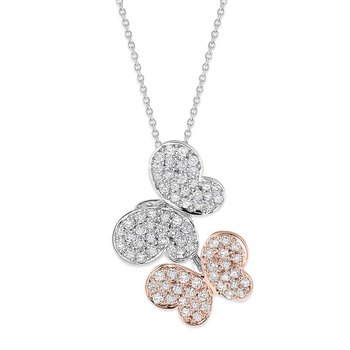 Diamond Double Butterfly Necklace in 14K White and Rose Gold with 80 Diamonds Weighing  .86ct tw