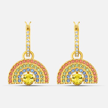 Swarovski Sparkling Dance Rainbow Pierced Earrings, Light multi-colored, Gold-tone plated