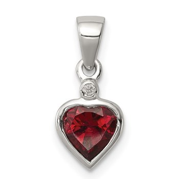 Sterling Silver Rhodium Garnet Diamond Pendant