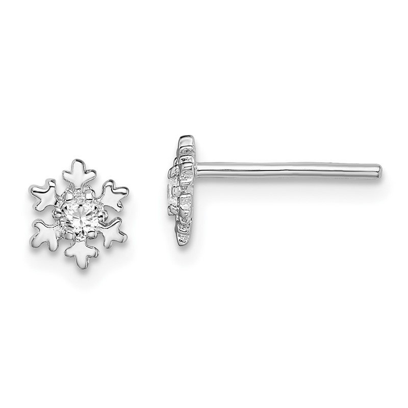 Quality Gold Sterling Silver Rhodium-plated CZ Snowflake Post Earrings