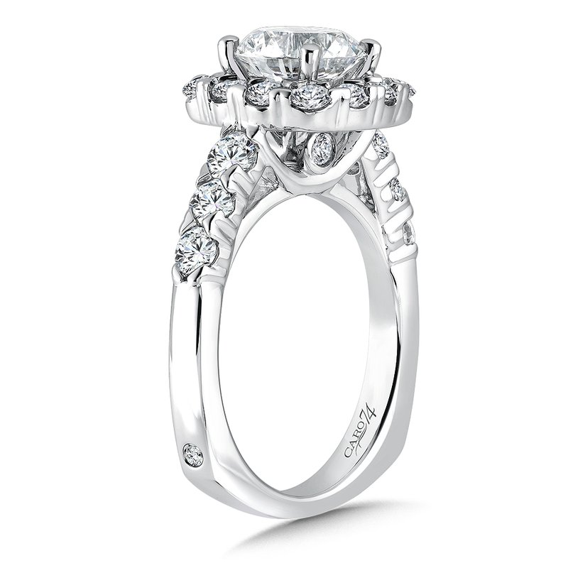 Caro74 Halo Engagement Ring with Side Stones in 14K White Gold with Platinum Head (2ct. tw.)