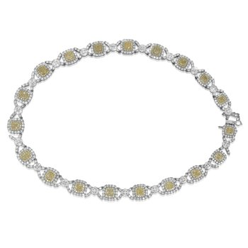 Double Halo Two Tone Diamond Necklace