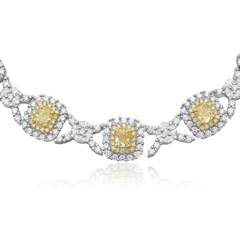 Roman & Jules Double Halo Two Tone Diamond Necklace