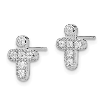 Sterling Silver RH-plated Polished CZ Cross Childrens Post Earrings