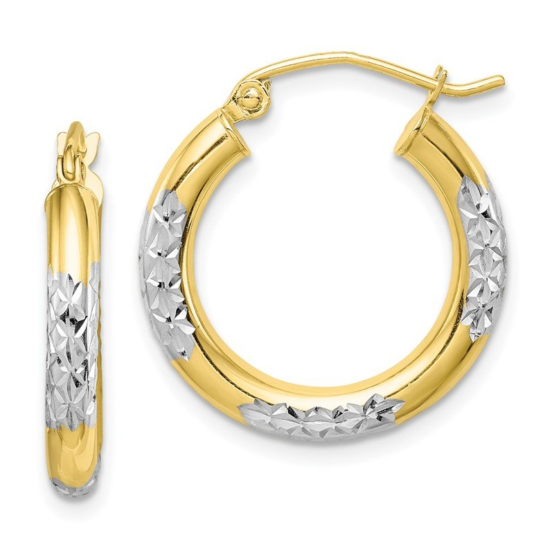 J.F. Kruse Signature Collection 10K & Rhodium Diamond Cut 3mm Hoop Earrings