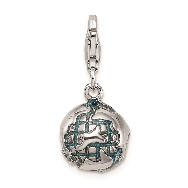 Quality Gold Sterling Silver Amore La Vita Rhodium-plated 3-D Enameled Globe Charm