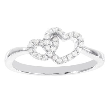 Sterling Silver 1/6ct Diamond Twin Hearts Promise Ring