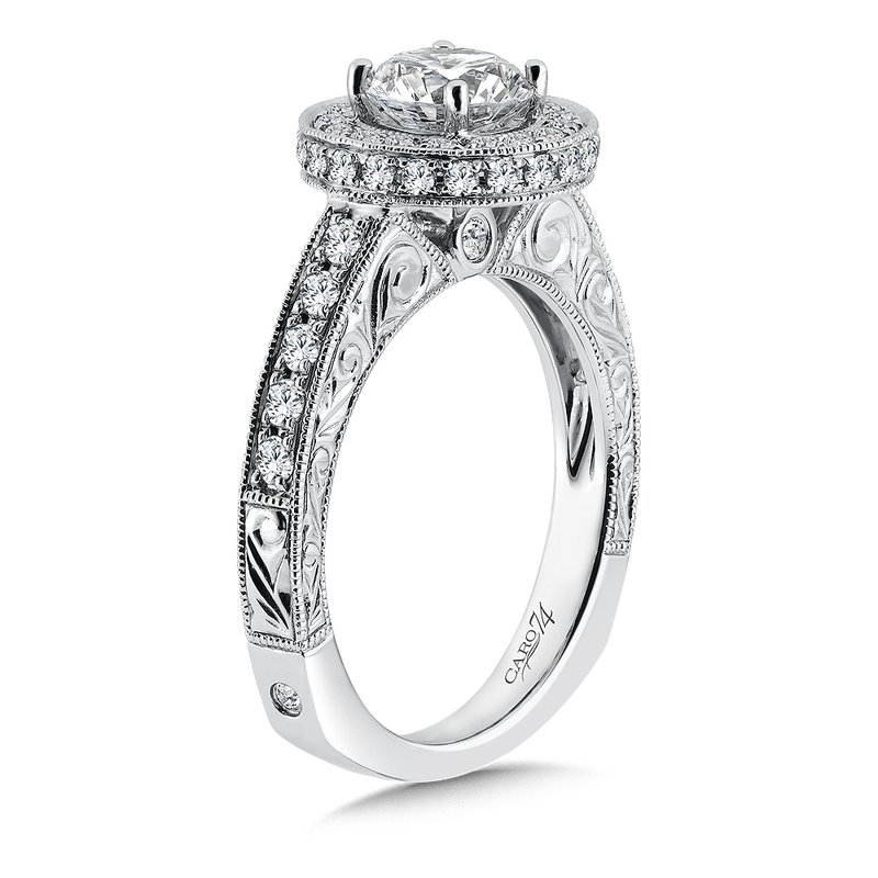 Caro74 Inspired Vintage Collection Halo Engagement Ring with Side Stones in 14K White Gold (1ct. tw.)