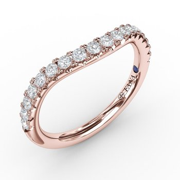 1/3ct French Pave Set Contour Diamond Band